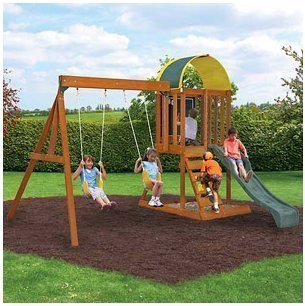 Cedar Wood Swingset, Climbing Wall & Sandbox