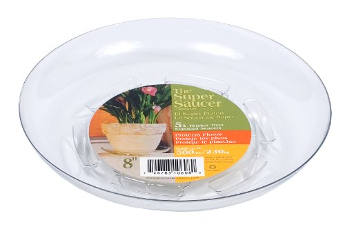 - Plastec SS008 Super Saucer For Planter, 8-Inch, Clear