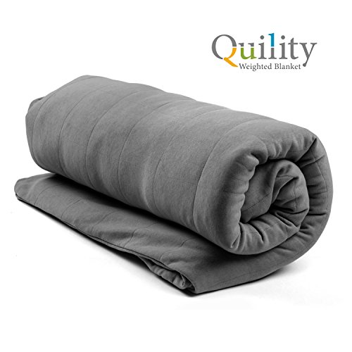 "Quility LIMITED PROMO Premium Adult Weighted Blanket & Removable Cover | 20 lbs | 48""x78"" (for a 170-230 lbs individual) 