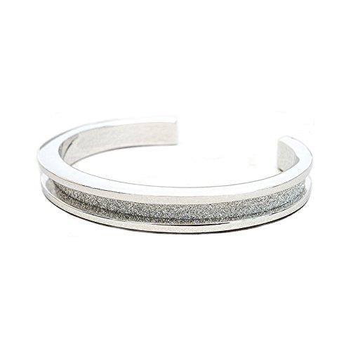 Nina Design Silver Finish With Glitter Channel - Fashion Bracelet Cuff Hair Tie Holder Accessory