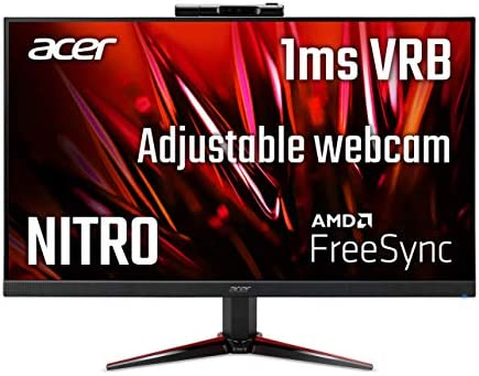 "Acer Nitro VG240Y Dbmipcx 23.8"" Full HD (1920 x 1080) IPS Zero-Frame AMD FreeSync Gaming Monitor with Full HD Adjustable Webcam, 1ms (VRB), 75Hz, (1 x Display Port, 1 x HDMI & 1 x VGA Ports)"