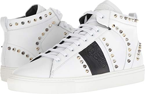 (Versace Collection Men's Spiked High Top Sneaker White/Black 43 M EU)