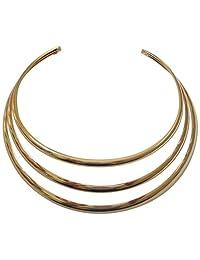 Kenneth Jay Lane Polished 3 Band Collar Choker Necklace