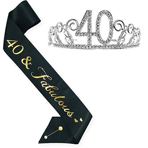 40th Birthday Tiara and Sash, HAPPY 40th Birthday Party Supplies, 40 & Fabulous Gold Black Glitter Satin Sash and Crystal Tiara Birthday Crown for 40th Birthday Party Sup (silver Tiara -