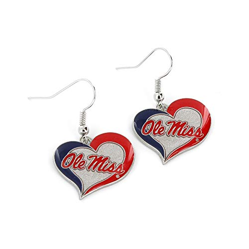NCAA Mississippi Ole Miss Rebels Swirl Heart Earrings - Miss Sixty Jewellery