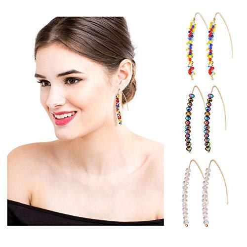 vogueknock Threader Earrings for Women Upside Down Hoops Lightweight Beaded Wire Needle Drop Dangle Earrings Jewelry Set 3 Pairs (Clear AB Rainbow)