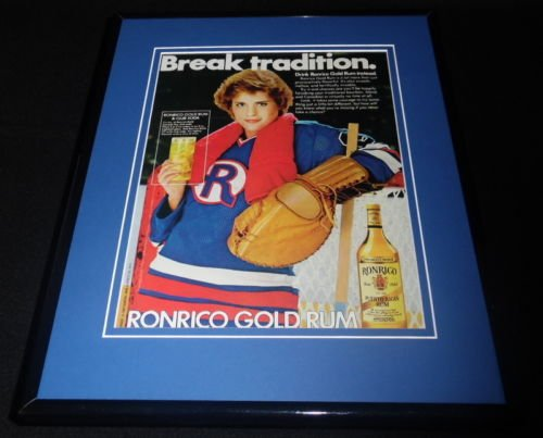1983 Ronrico Gold Rum Female Goalie Framed 11x14 ORIGINAL Advertisement