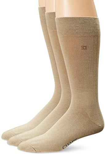 Chaps Men's Solid Rayon Blend Dress Crew Trouser Socks 3 Pair, khaki, Shoe Size: 6-12