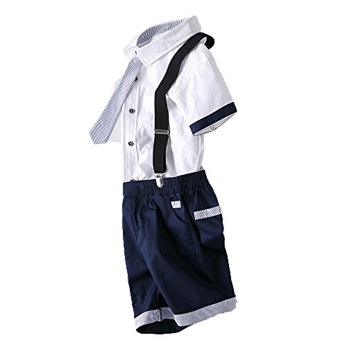 Kungfu ant Kids Western Short Sleeve Gentleman Shirt Suit with Pants Shorts (Navy Blue, 140(7-8 Years)) by Kungfu ant