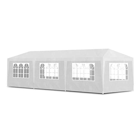 Festnight Marquee Wedding Party Tent Waterproof Event Shelter Garden Gazebo Portable Garage Carport PE and Galvanised Steel Frame 2x4 m, White