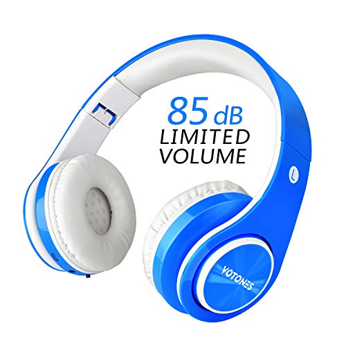 Wireless Headphones for Kids,VOTONES 85dB Volume Limited Children Wired Headphones with Microphone,Lightweight Foldable Kid Bluetooth Headset for Tablets Smartphones Laptop Computer PC Study-Blue