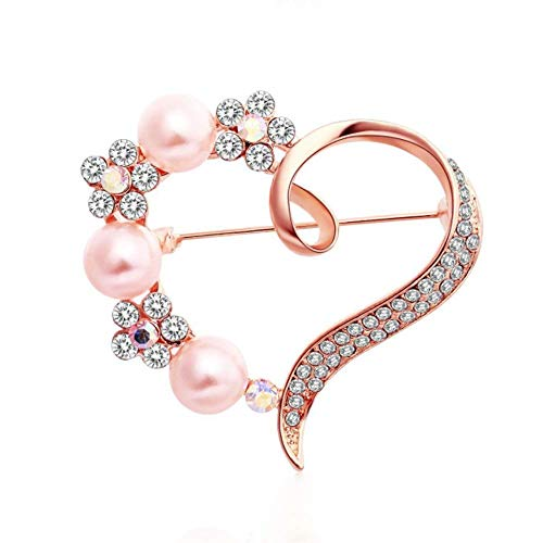 TULIP LY Heart Brooch for Women Cluster Pave Clear Crystal Love Heart Pearl Brooch Pin Wedding Party Clothes Accessories (Rose-Gold-Plated-Alloy)