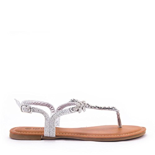 Womens Gemstone Accent - Women's T-Strap Gem Stone Leaf Accent Thong Sandal with Adjustable Buckle (Silver, 7 B(M) US)
