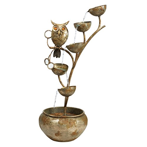 - Water Fountain - Nearly 3 Foot Tall Whooo's Watching Owl Decor Metal Fountain - Outdoor Water Feature