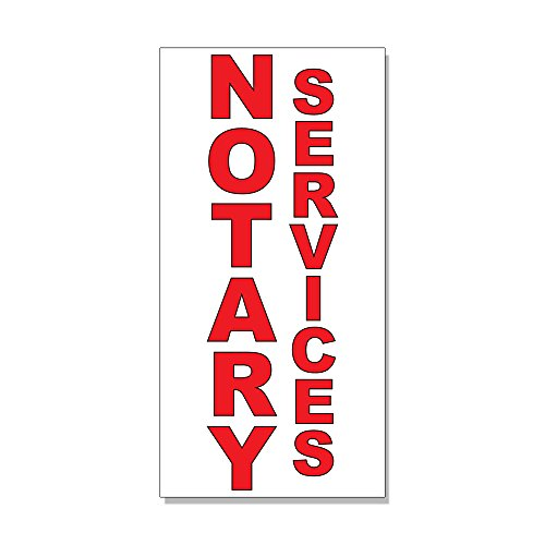 Notary Services Red DECAL STICKER Retail Store Sign - 9.5 x 24 inches from Fastasticdeals