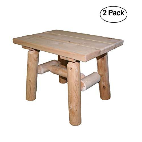 Lakeland Mills Cedar Log Patio End Table (set of ()