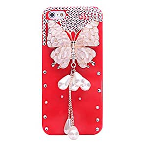 JOEPearl Butterfly Pattern Metal Jewelry Back Case for iPhone 5/5S(Assorted Color) , White