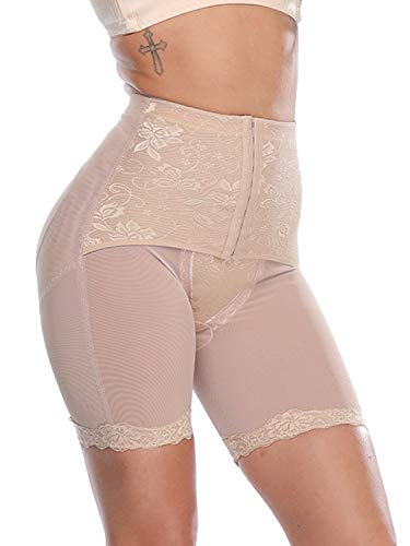 (SLIMBELLE Thigh Slimmer Body Shaper Women High Waist Seamless Tummy Control Panty Underwear Butt Lifter Nude 2XL)