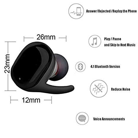 LACGO Pack of 1 Wireless Earbuds Touch Sensor Bluetooth Headphones V4.2 with Mini Stereo Headsets in Ear Sports Earphone IPX5 Sweatproof Earpiece /& Charging Case Noise Cancelling Gray
