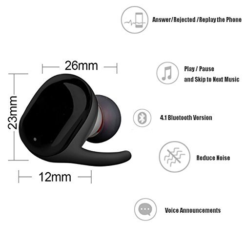 LACGO Wireless Earbuds, Touch Sensor Bluetooth Headphones V4.2 with Mini Stereo Headsets In Ear Sports Earphone IPX5 Sweatproof Earpiece with Charging Case Noise Cancelling for Smart Phones by LACGO