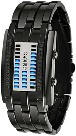 Tungsten Steel Watch Led Students Watch binary Led Watches Small Size - Black