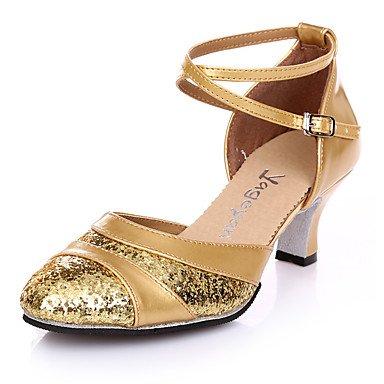 XIAMUO Nicht anpassbar - Die Frauen tanzen Schuhe Wildleder Wildleder Salsa Fersen Ferse Praxis Silber Gold, Gold, Us8.5/EU39/UK6.5/CN 40