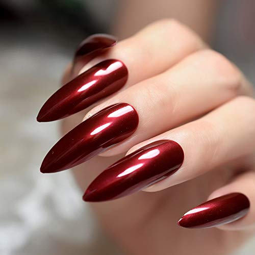 bb8d855df2750 CoolNail Extra Long Sharp Stiletto False Nails Tips Claret-red Bordeaux Red  Pointed Stilettos UV Gel Salon Party Press on Fake Nail Art