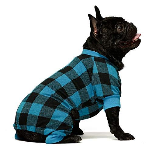 Fitwarm 100% Cotton Buffalo Plaid Dog Clothes Puppy Pajamas Pet Apparel Cat Onesies Jammies Doggie Jumpsuits