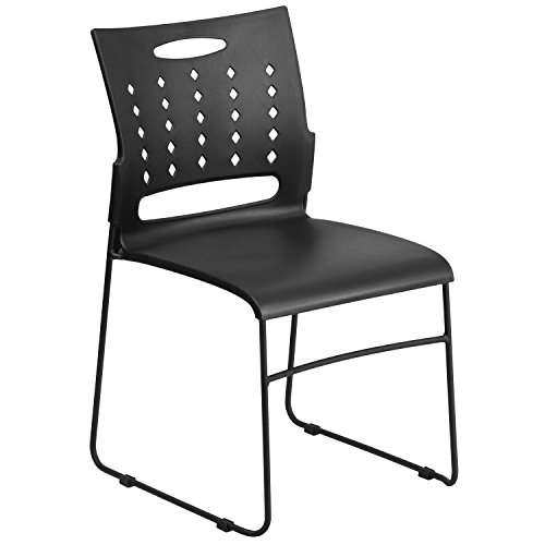 Flash Furniture HERCULES Series 881 lb. Capacity Black Sled Base Stack Chair with Air-Vent Back