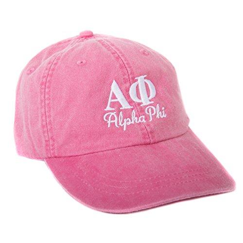 Desert Cactus Alpha Phi (S) Sorority Embroidered Baseball Hat Cap Cursive Name Font A Phi (Hot Pink)
