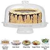 Evelots 6-in-1 Cake Stand, Multi-Function Serving Platter, Salad & Punch Bowl