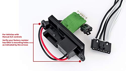 - HVAC Blower Motor Fan Resistor Kit & Harness for Manual A/C Controls- Replace# 22807122, 15305077, 973-409 - Fits Cadillac Escalade, Chevy Avalanche, Silverado, Tahoe, GMC Sierra, Yukon, XL 1999-2007