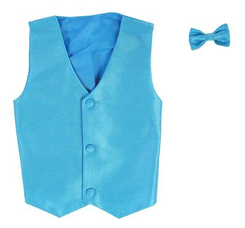 Vest Childrens (Vest and Clip On Boy Bowtie set - AQUA - 8/10)