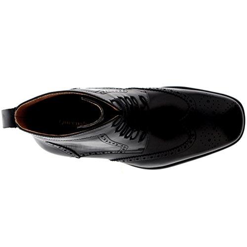 Pieno Vera Nero Queensbury Wing Oxfords Scarpe cap Caviglia Pelle Uomo Smith Stivali HTnawqxFRf