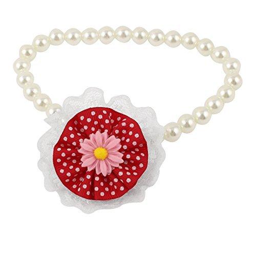 Detalle de la Flor Para mascotas perlas de Faux del Collar del Collar M Blanco Rojo