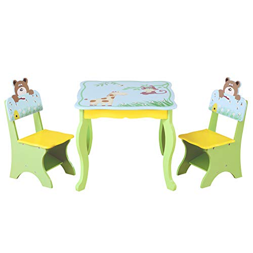 YFDZONE Kids Wood Table and 2 Chairs Set 3-in-1 Kids Toddler Furniture Child Square Desk and Chair Set for Dining Room Living Room Indoors(Muliti)