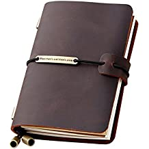 """Refillable Handmade Traveler's Notebook, Leather Travel Journal Notebook for Men & Women, Perfect for Writing, Gifts, Travelers, Small Size 5.2"""" x 4"""" Inches - Coffee"""