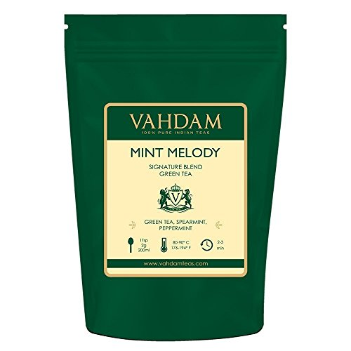 VAHDAM, Mint Green Tea Loose Leaf (100 Cups) | RICH ANTI-OXIDANTS | Peppermint Tea With Pure Green Tea Leaves | REFRESHING MINT TEA | Brew as Hot Tea or Iced Tea | 3.53oz (Set of 2)