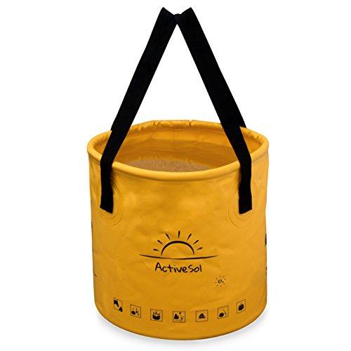 ActiveSol Falteimer 10L | Robust, faltbar, platzsparend für unterwegs | Garten, Outdoor, Angeln & Camping | Vielseitig einsetzbar: Kinder-Eimer, Reisenapf Hund, Strandspielzeug uvm.