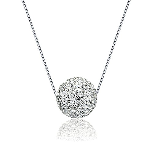 Aromatherapy Essential Oil/Perfume Fragrance Diffuser, Ball with Czech Stones Pendant/Locket Necklace,Shinning Silver with 19'' Adjustable Snake Chain by 22&Co.