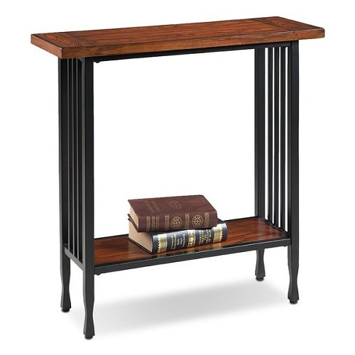 Home Matte Black Slatted Metal Base Condo/ Apartment Burnished Mission Oak Hall Stand