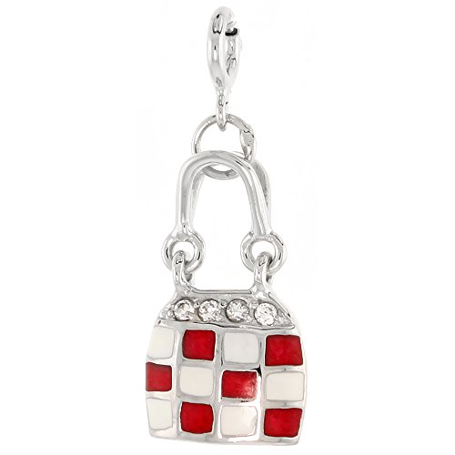 Sterling Silver Jeweled Purse Pendant, Red & White Enamel, w/ CZ Stones, 3/4 inch (21 mm)