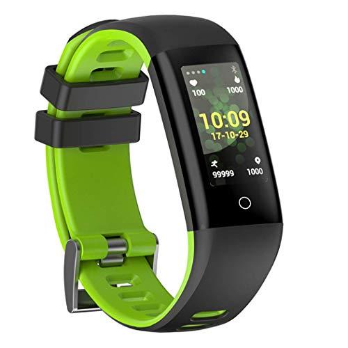 Yjkegjvdgf Color Screen Intelligent Sport Bracelet Heart Rate Measurement sphygmomanometer Step Waterproof Fashion Bluetooth Call Message Reminder (Color: Gray) (Color : Grün, Size : -) ()