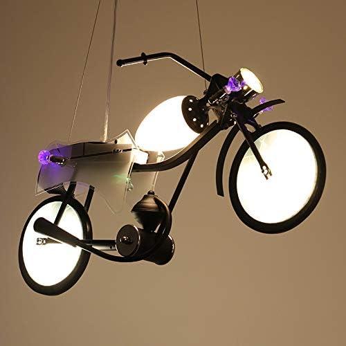 LITFAD Modern LED Pendant Light Black Industrial Cool Motorcycle Ceiling Hanging Light Chandelier for Indoor Amusement Park Living Room Boys Bedroom Children s Room