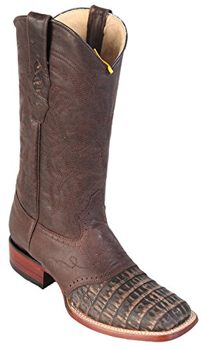 Belly Brown Leather Skin w Square Sanded Toe Caiman Saddle Men's Western Wide Boots Genuine Iw18xY8Aq