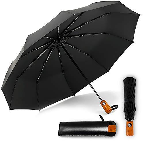 CEFIRO Umbrella - Windproof Golf Umbrellas for Women and Men, Travel Compact Mini Auto Open/Close Folding Umbrella, with 10 Ribs, Vintage Wood Handle, Teflon Coating (Black, Umbrella & Leather Cover)