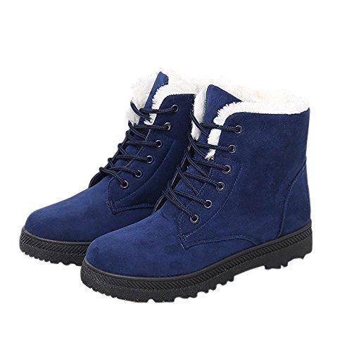 NOT100 Womens Snow Boots for Winter Ankle Boots Combat Walking Shoes Booties Navy Blue Size 8.5 8 1/2