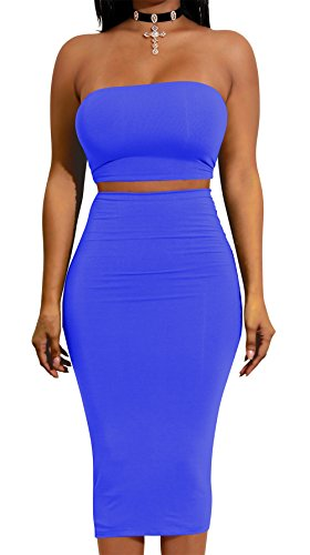 Cut Out Tube Dress - Women Sexy Off Shoulder Tube Backless Lace up Crop Top Slim 2pcs Outfits Party Club Dress Sapphire Blue Medium