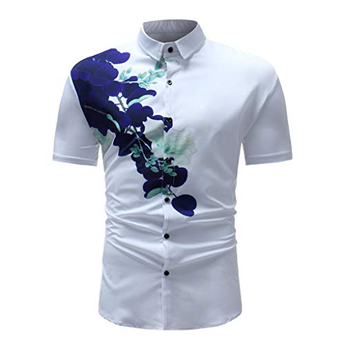 becba71e0 Men's Dress Shirt Square Collar Printed Casual Short Sleeve Slim Fit Top  Blouse White