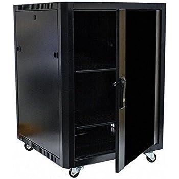 Navepoint 15u Steel Rack Audio A V Locking Glass Door Cabinet 600mm Casters